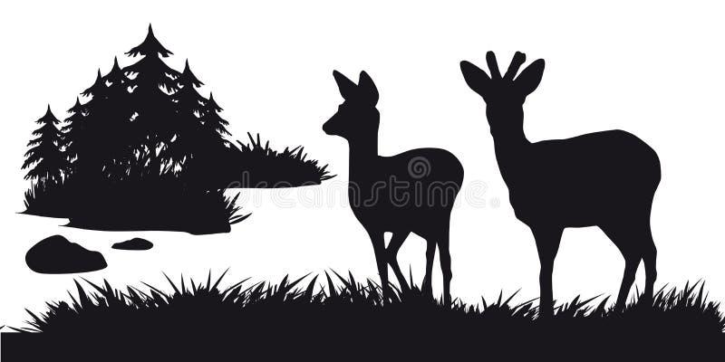 Caza motiva de animales y de landscapes16 libre illustration