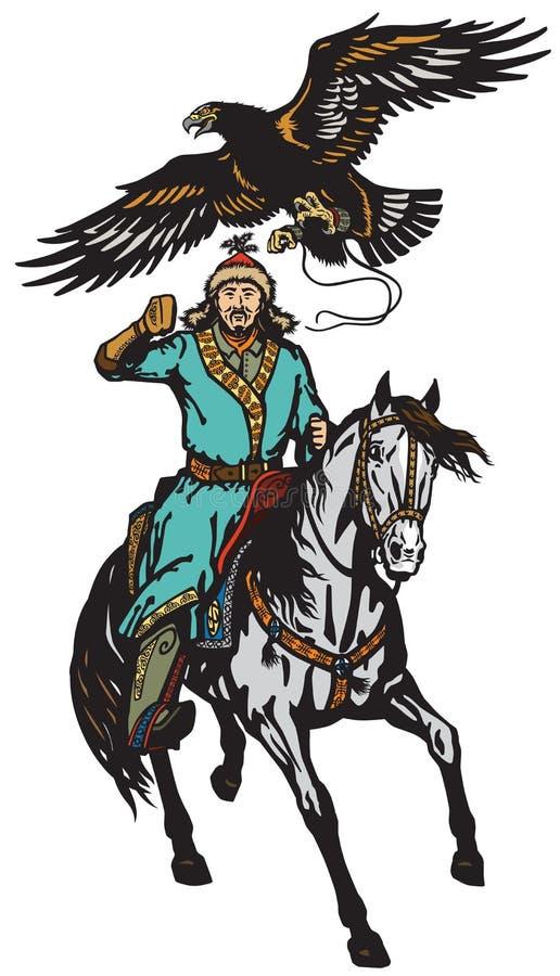 Cazador asiático del águila del jinete en un caballo libre illustration