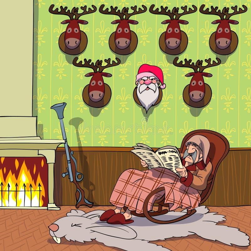 Cazador cerca del fuego libre illustration