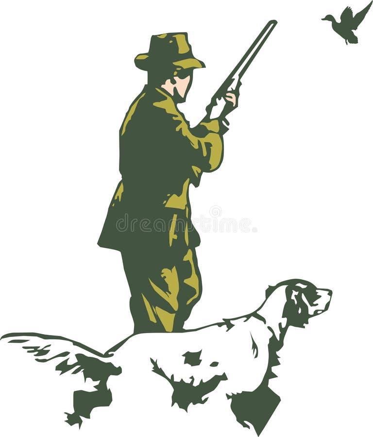 Cazador con el perro ilustración del vector