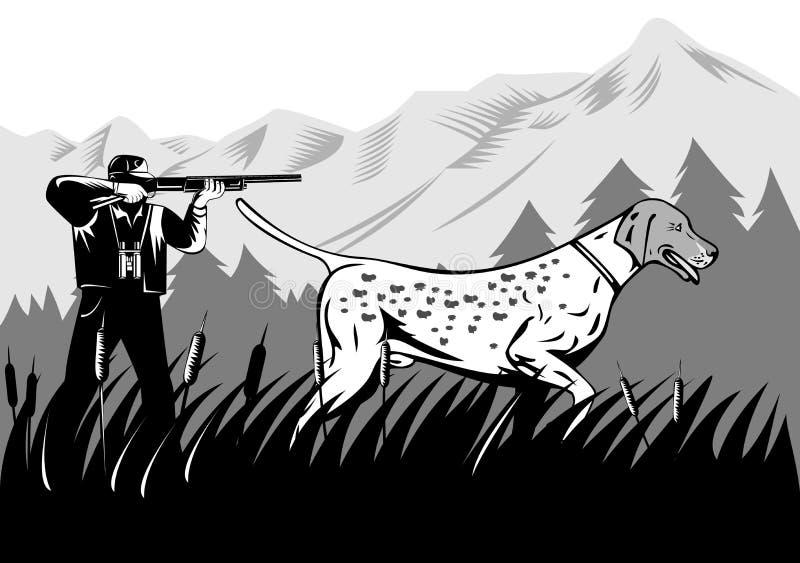 Cazador con el perro stock de ilustración