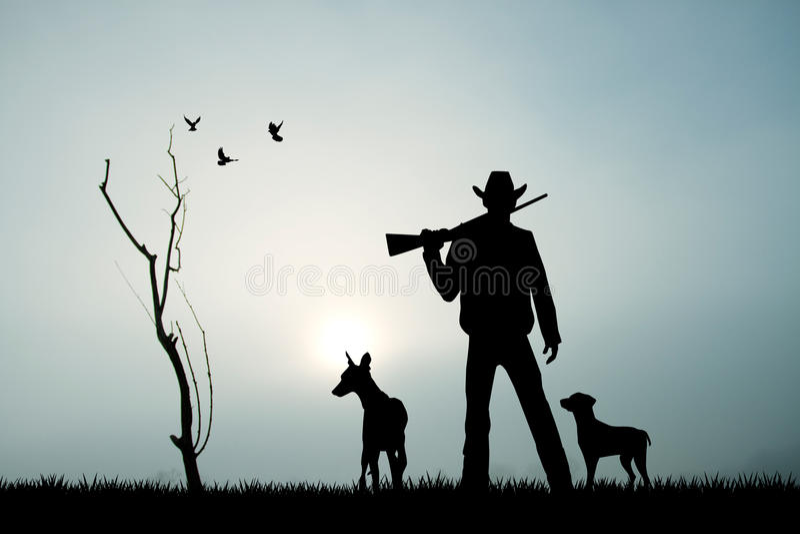 Cazador con el perro en la puesta del sol libre illustration