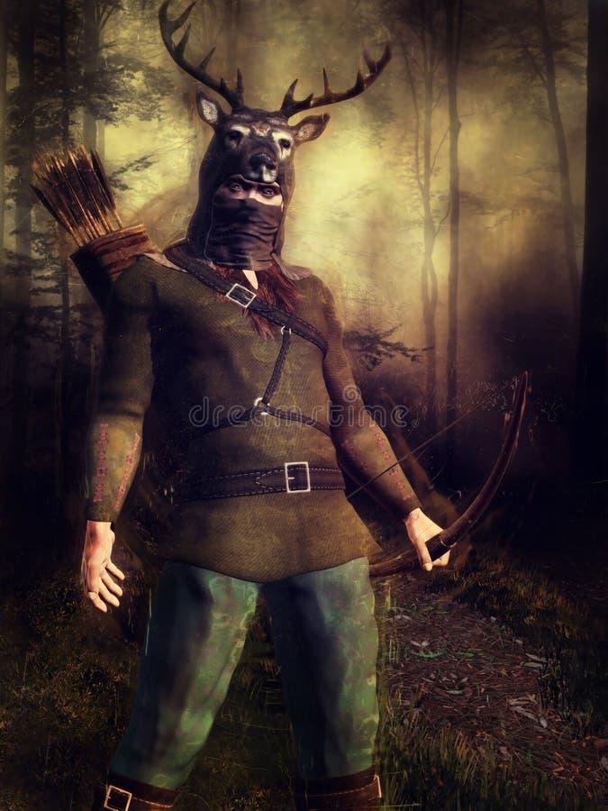 Cazador con un casco de los ciervos libre illustration