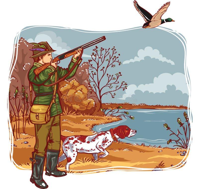 Cazador con un perro stock de ilustración