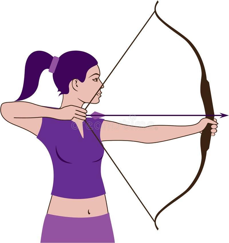Cazador de la mujer ilustración del vector