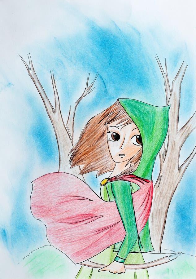 Cazador de la mujer joven con el arco en bosque extraño ilustración del vector