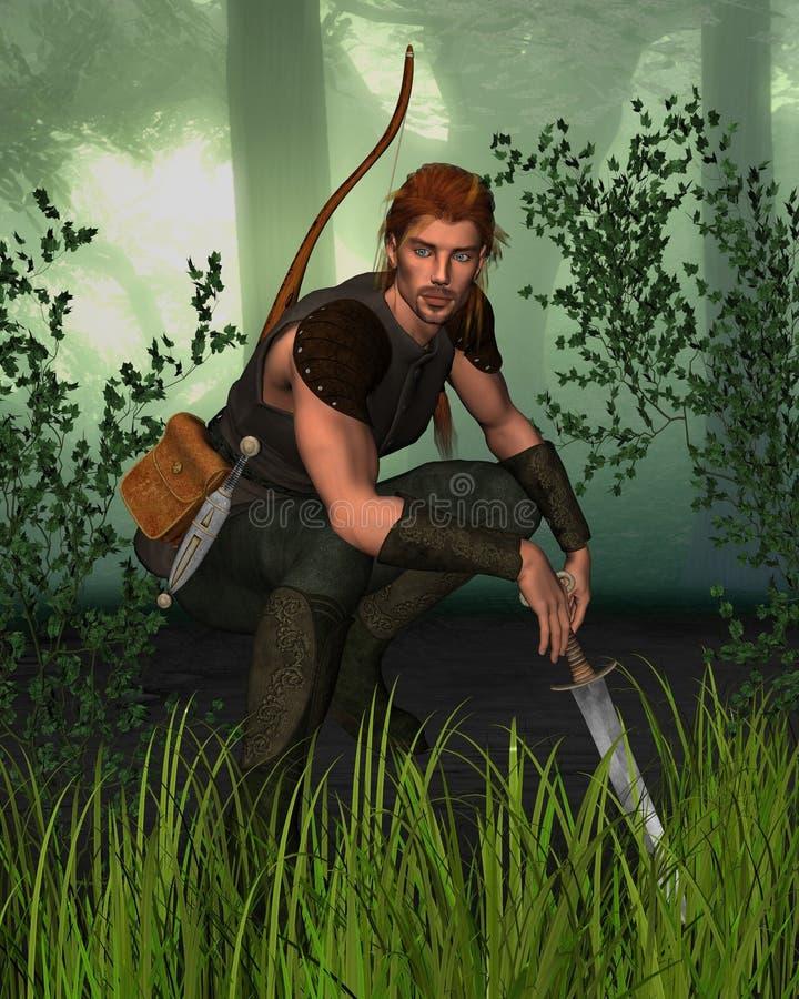 Cazador del bosque con el fondo libre illustration