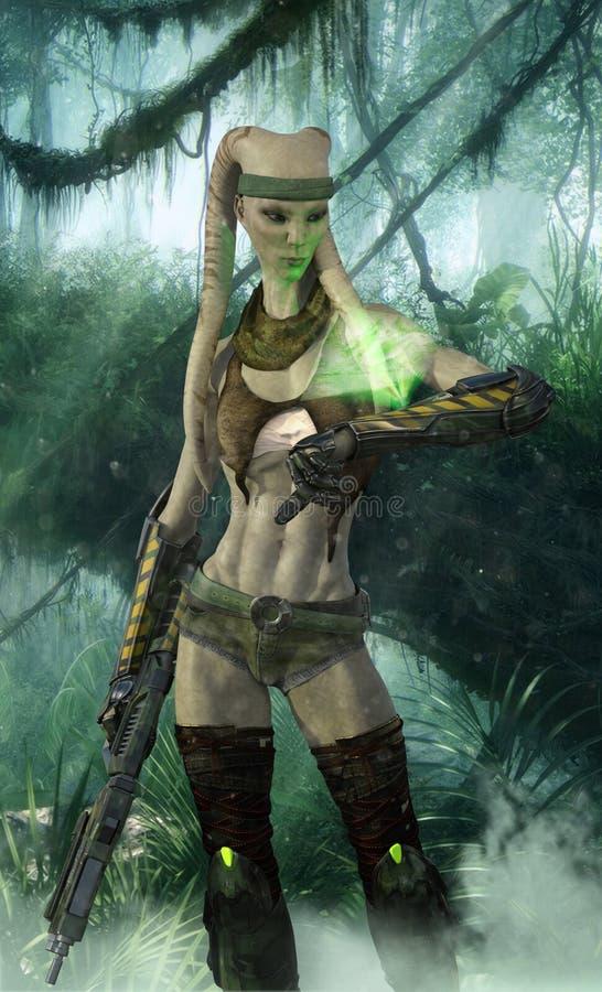 Cazador extranjero con el rifle y el dispositivo del holograma stock de ilustración
