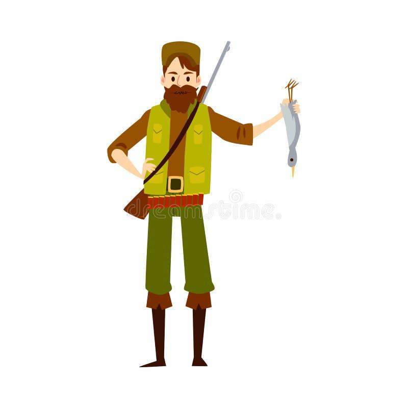 Cazador orgulloso con el pato muerto, aislado cazando al hombre en la actitud confiada que muestra su matanza ilustración del vector