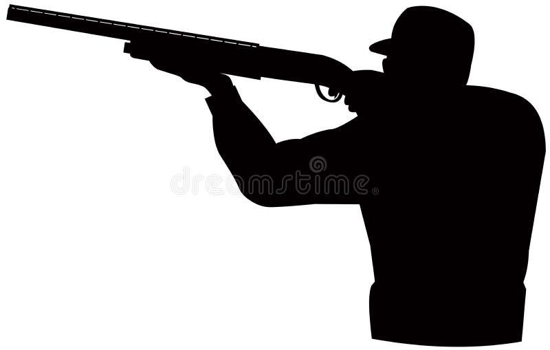 Cazador que apunta la escopeta ilustración del vector