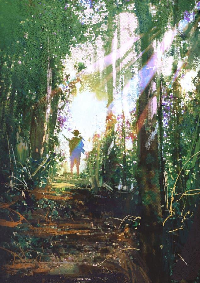 Cazador que se coloca en una trayectoria en bosque stock de ilustración