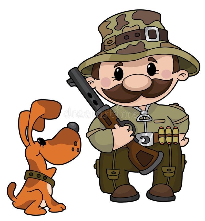 Cazador y perro libre illustration