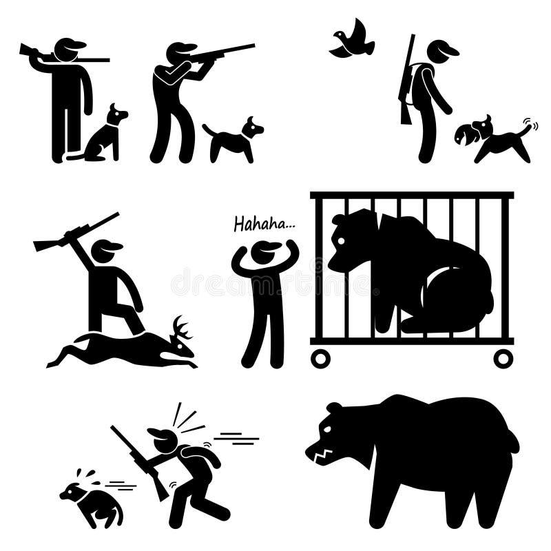 Cazador y perro de caza stock de ilustración