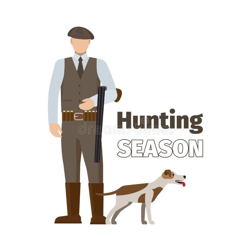 Cazador y su perro stock de ilustración