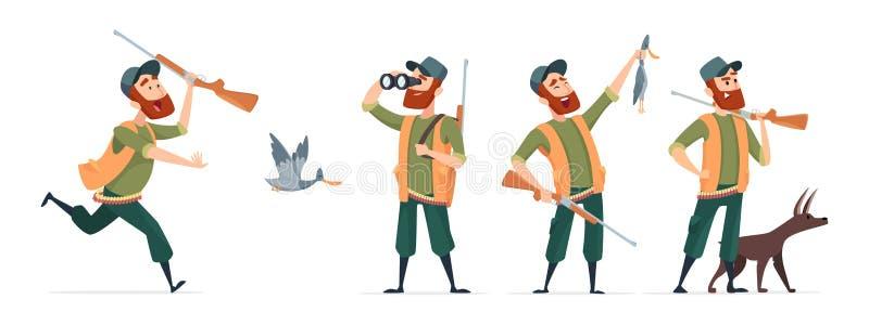 Cazadores de la historieta Cazador del vector con el perro, armas, prismáticos, pato aislado en el fondo blanco stock de ilustración