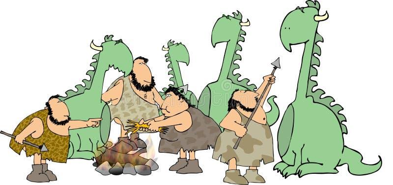 Cazadores del hombre de las cavernas ilustración del vector