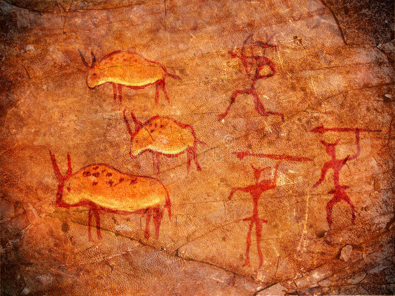 Cazadores en las pinturas de la cueva stock de ilustración