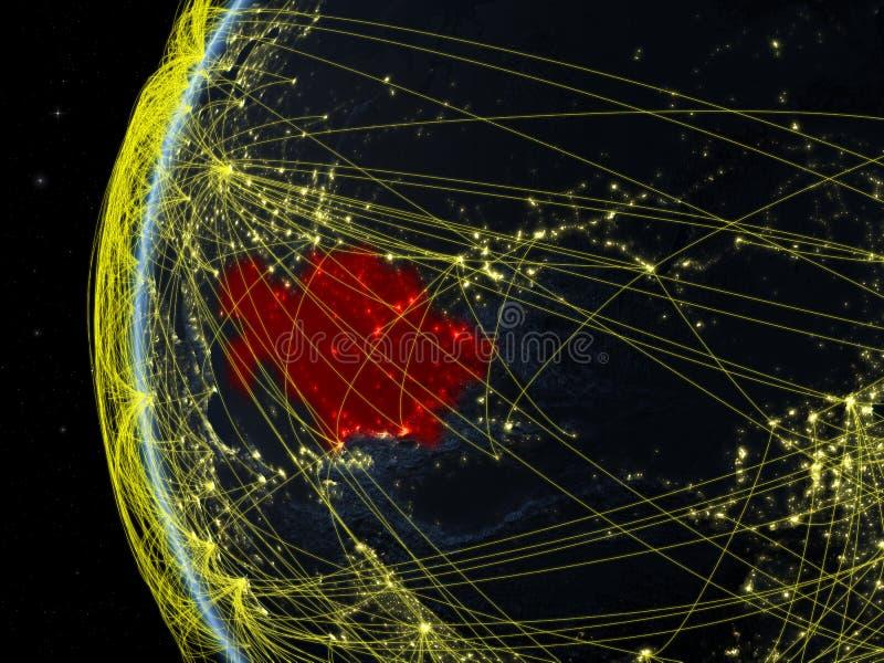 Cazaquistão do espaço com rede imagens de stock