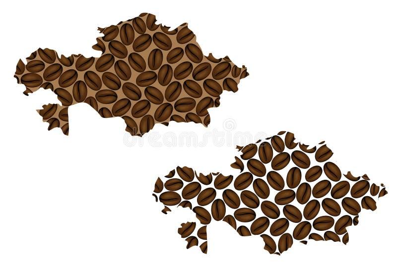Cazaquistão - mapa do feijão de café ilustração do vetor