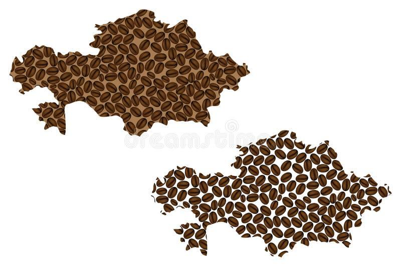 Cazaquistão - mapa do feijão de café ilustração royalty free