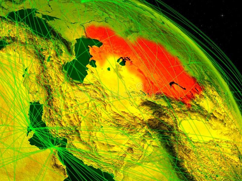 Cazaquistão no globo digital imagens de stock royalty free