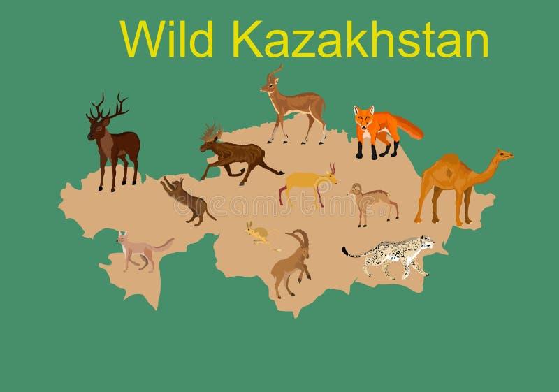 Cazaquistão selvagem, fauna do mapa de Cazaquistão ilustração royalty free