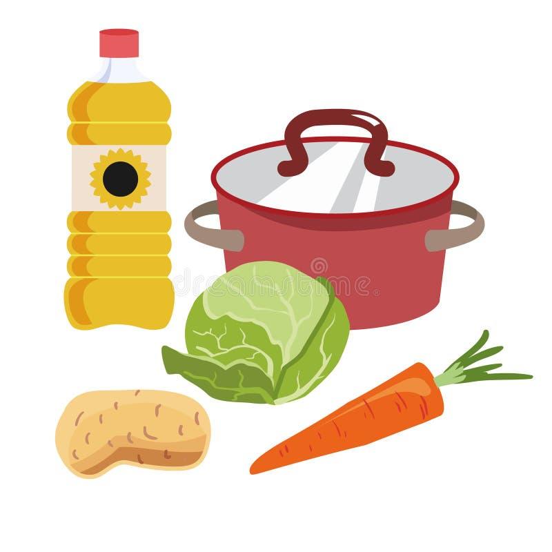 Cazo rojo con la tapa de cobre Ingredientes para la sopa de la preparación Col, zanahorias, aceite del sol Icono para el tema de  stock de ilustración