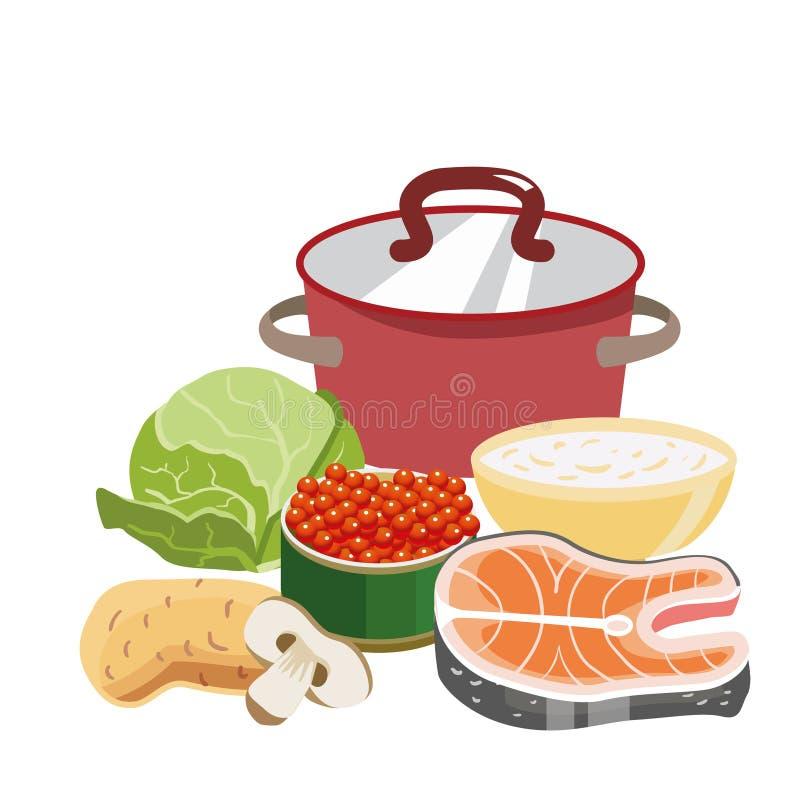 Cazo rojo con la tapa de cobre Ingredientes para la sopa de la preparación y un cuenco de harina de avena Col, zanahorias, mitad  stock de ilustración