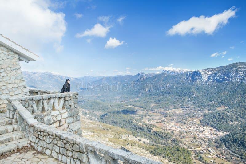Cazorla Natural Park. Woman looking at view point of Cazorla natural park in Jaen, Spain royalty free stock photo