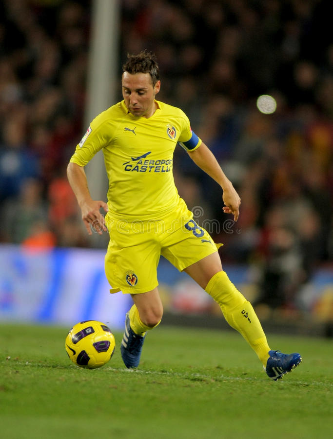 Cazorla of Villarreal CF. In action during a Spanish League match between FC Barcelona and Villarreal CF at the Nou Camp Stadium on November 13, 2010 in royalty free stock photography