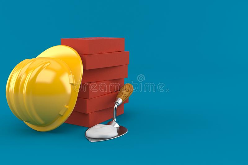 Cazzuola di mattoni ed elmetto protettivo illustrazione di stock