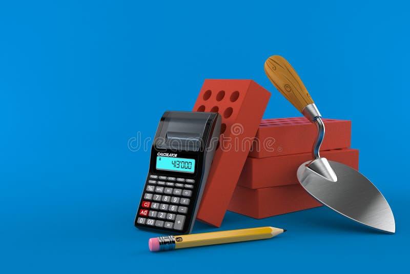 Cazzuola e mattoni con il calcolatore e la matita illustrazione vettoriale
