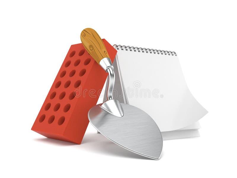 Cazzuola e mattoni con il calendario in bianco illustrazione di stock