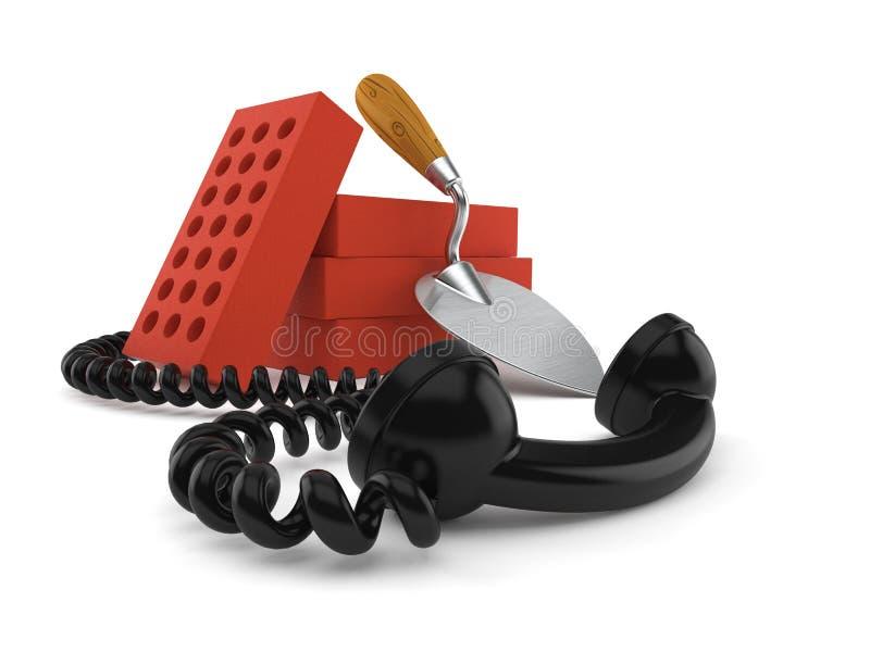 Cazzuola e mattoni con il telefono illustrazione di stock
