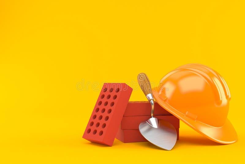 Cazzuola e mattoni con l'elmetto protettivo illustrazione di stock