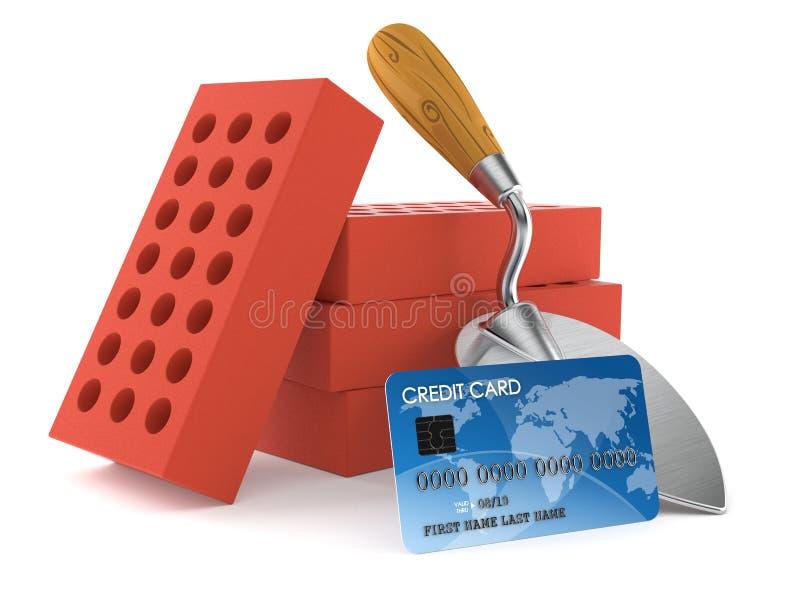 Cazzuola e mattoni con la carta di credito illustrazione vettoriale