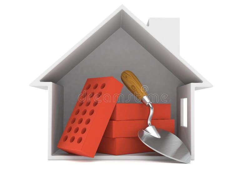 Cazzuola e mattoni dentro la sezione trasversale della casa illustrazione vettoriale