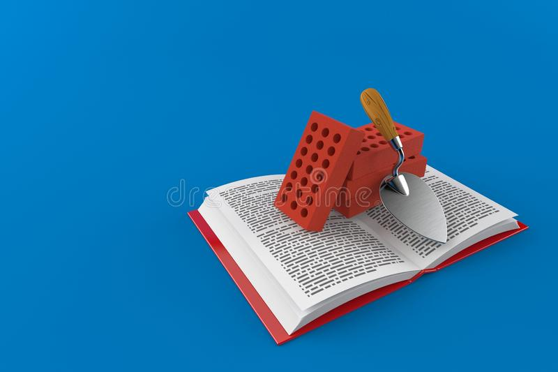 Cazzuola e mattoni sul libro aperto illustrazione di stock