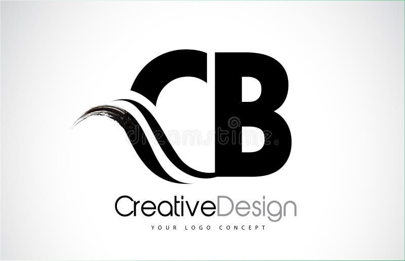 CB C B Creative Brush Black Letters Design With Swoosh. CB C B Creative Modern Black Letters Logo Design with Brush Swoosh stock illustration