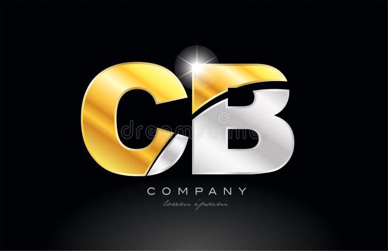 cb c B van de combinatiebrief alfabet met gouden zilveren grijs metaalembleem stock illustratie
