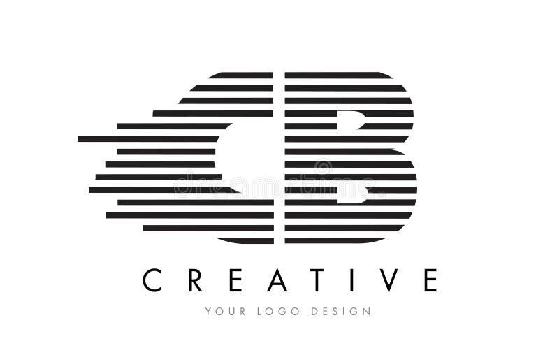 CB C B Zebra Letter Logo Design with Black and White Stripes royalty free illustration