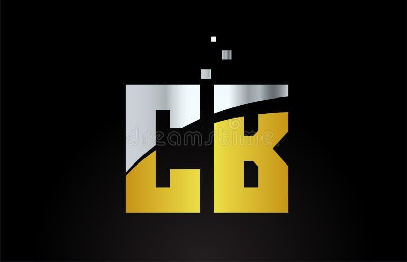 CB metálicos de plata de oro C B de la combinación de letra del alfabeto del color del oro para el diseño del icono del logotipo libre illustration