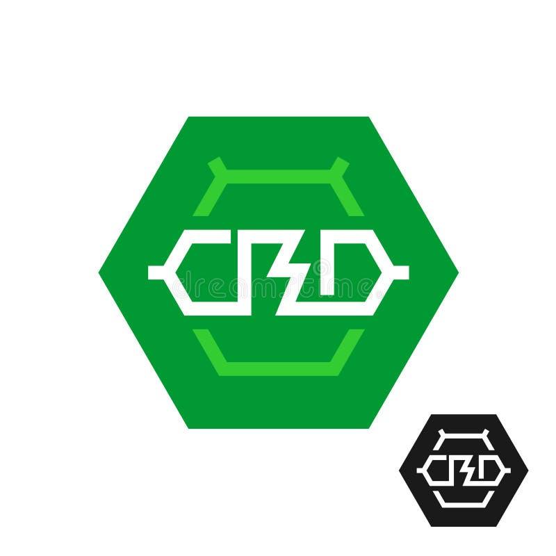 CBD分子商标 cannabidiol的技术标志 皇族释放例证