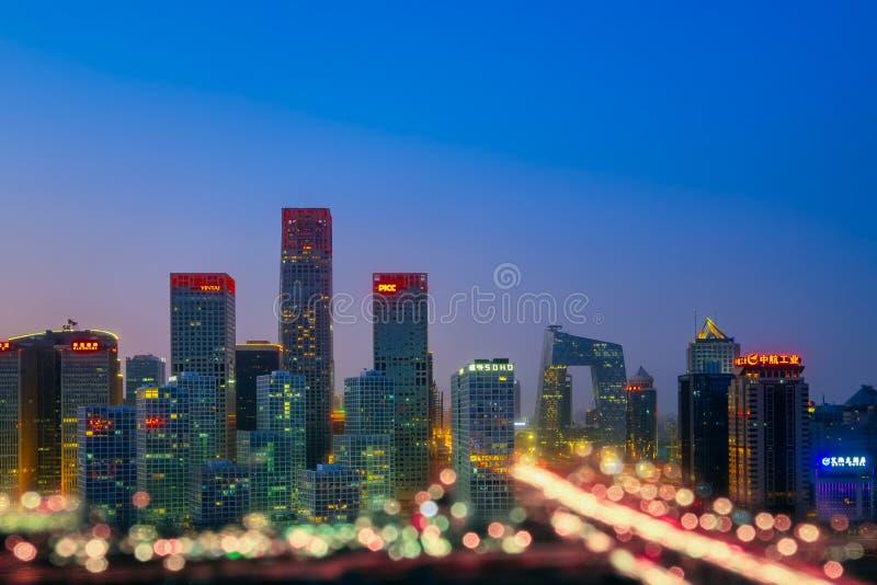 CBD建筑学夜视图在北京,中国 免版税库存图片