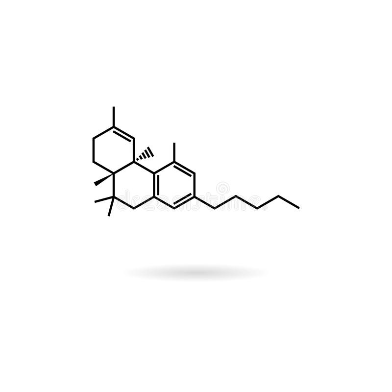 CBD molecular formula, cannabidiol molecule structure line icon stock illustration