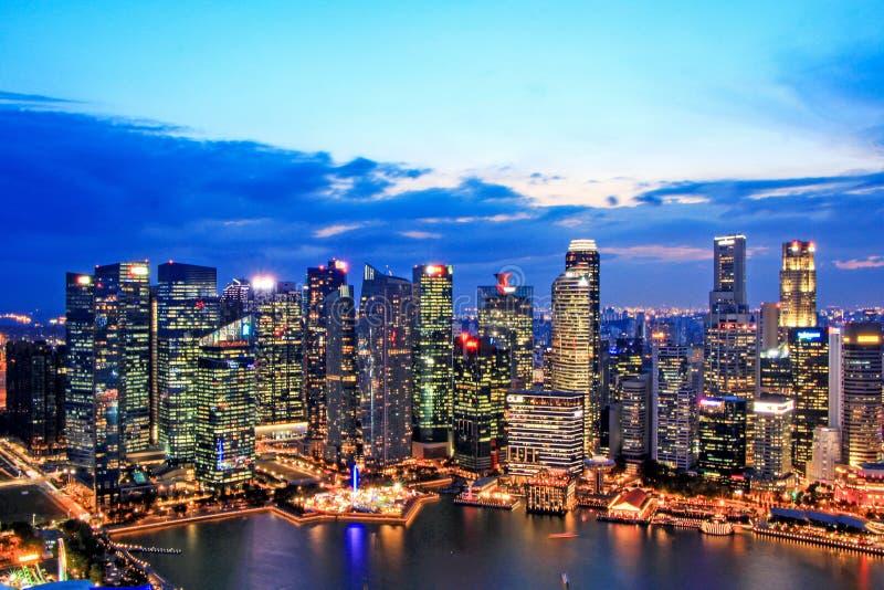 CBD night view of Singapore Marina Bay City royalty free stock photo