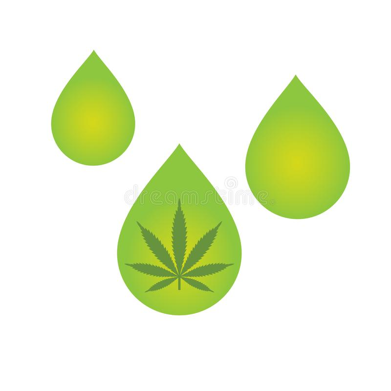 CBD oil cannabis extract. Medical Cannabis oil icon design with Marijuana leaf and hemp oil drop. CBD oil cannabis extract. Icon product label and logo graphic stock illustration