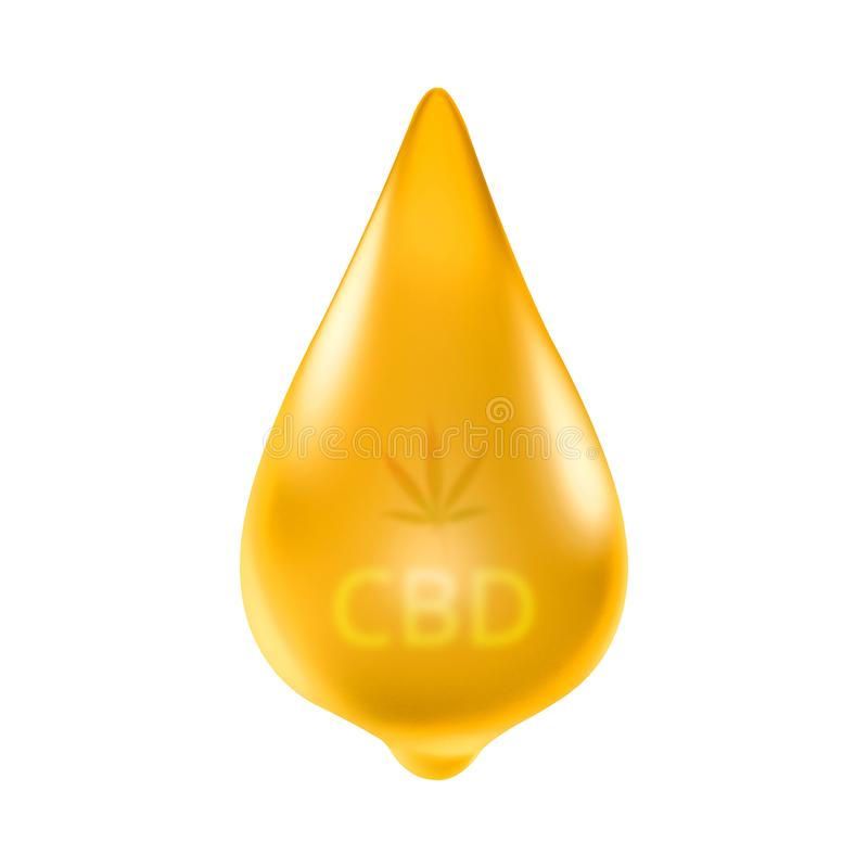 CBD oil hemp droplets isolated on pure white background. Medical marijuana cannabis or cbd oils fluid for cancer disease. royalty free illustration