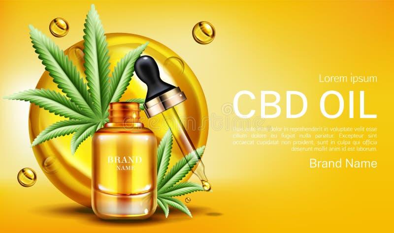 Cbd oil banner mockup, hemp cannabinoid extract. Cbd oil web banner mockup, glass bottle with hemp cannabinoid extract, cannabis leaves and droplet. Legal royalty free illustration