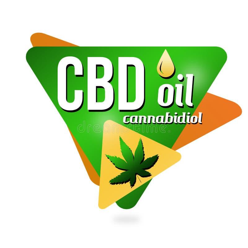CBD-oljaCannabidiol tecken eller klistermärke royaltyfri illustrationer